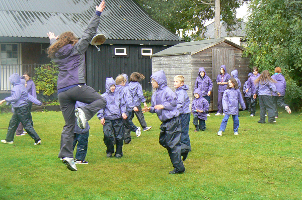 Julia dancing with pupils from Lochinver Primary School